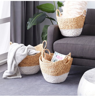 CosmoLiving by Cosmopolitan Oval Natural and White Dip-Dyed Water Hyacinth Wicker Storage Baskets with Round Handles - Set of 4