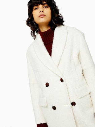Topshop Tall Kim Boucle Coat - Ivory
