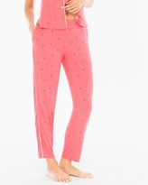 Soma Intimates Cool Nights Contast Piped Ankle Pajama Pants Bees Please Coral Rose