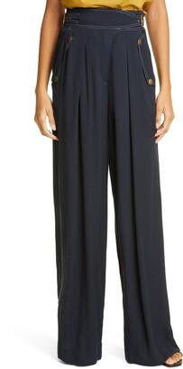 Ulla Johnson Side Belt Wide Leg Trousers