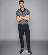 Reiss TOKYO LINEN PLEAT FRONT TAPERED TROUSERS Navy