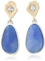 "Kenneth Cole New York True Blues"" Geometric Crystal Semiprecious Blue Faceted Stone Drop Earrings"