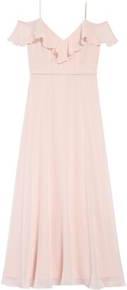 Dessy Collection Cold Shoulder Chiffon Flower Girl Dress
