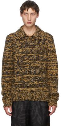 Dries Van Noten Tan and Black Open Collar Long Sleeve Polo