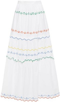 Tory Burch Tiered Embroidered Cotton-poplin Maxi Skirt