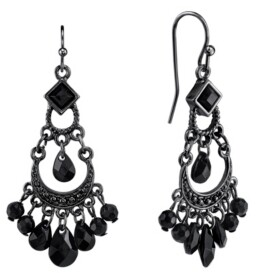 2028 Black-Tone with Black Bead Wire Earrings