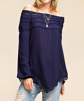 Jane Navy Off-Shoulder Asymmetrical Tunic