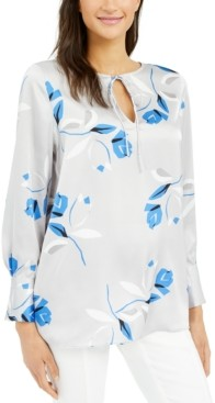 Alfani Printed Tie-Neck Tunic, Created for Macy's