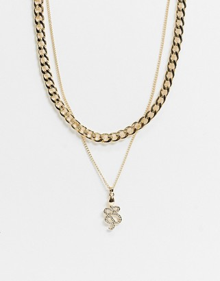 Topshop multirow necklace with chunky chain and snake pendant in gold