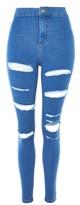 Topshop MOTO Deep Blue Super Rip Joni Jeans