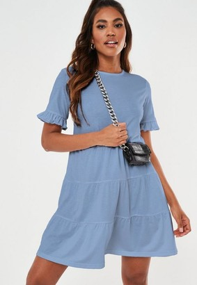 Missguided Blue Frill Sleeve Tiered Smock Dress