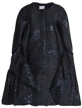 DELPOZO Cape-effect Ruffled Brocade Coat