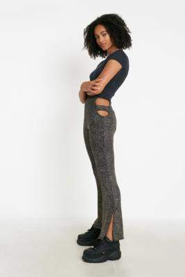 Urban Outfitters Cut-Out Glitter Flare Trousers - gold XS at