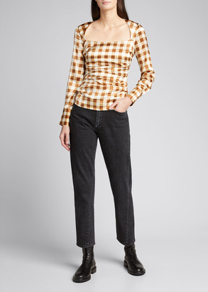 Ganni Gingham Ruched Long-Sleeve Satin Blouse