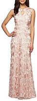 Alex Evenings Petite Embroidered Illusion Cut-Out Gown