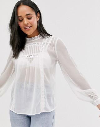 Pieces prairie lace detail blouse