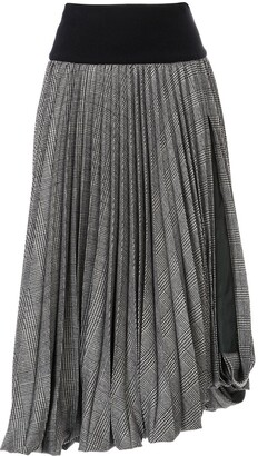 Sacai Tartan Patterned Pleated Skirt