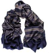 Black Navy and Brown Ikat Cashmere Ring Shawl