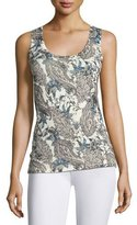 Neiman Marcus Superfine Lily Paisley Silk-Blend Tank