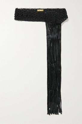 BIBI MARINI Fringed Macrame Belt - Black