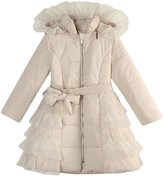Richie House Girls' Padding Jacket with Ruffled Mesh RH1395-B-9/10