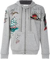 Valentino patch zip hoodie
