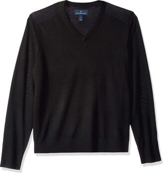 Buttoned Down Men's Italian Merino Wool Lightweight V-Neck Jumper Black X-Large