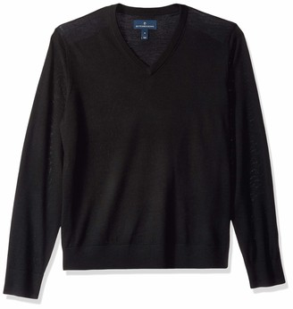 Buttoned Down Men's Italian Merino Wool Lightweight V-Neck Jumper Black XXX-Large