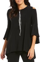 IC Collection Cold Shoulder Zip Front Top