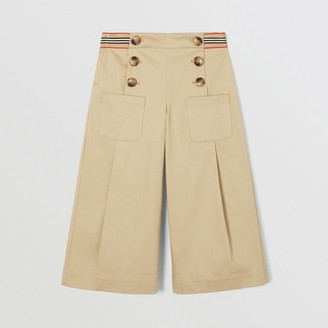 Burberry Childrens Icon Stripe Trim Cotton Sailor Trousers