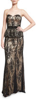 Mignon Strapless Lace Peplum Gown, Black/Nude