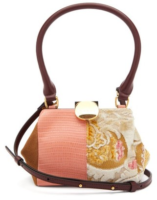 Marni Tapestry Patchwork Leather And Suede Bag - Pink Multi