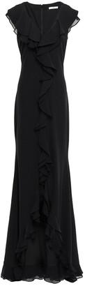 ZAC Zac Posen Georgette-paneled Stretch-crepe Gown