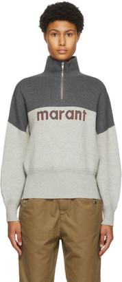 Etoile Isabel Marant Grey Linn Half-Zip Sweater