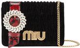 Miu Miu Black Velvet Matelasse Diamante Clutch Bag