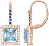 Fine Jewelry Lab-Created Aquamarine & Sapphire 14K Rose Gold Over Silver Leverback Earrings