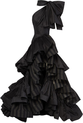 Maticevski Professed Bow-Embellished Ruffled Striped Linen Gown