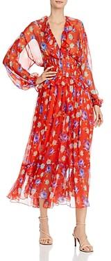 MSGM Abito Silk Printed Maxi Dress
