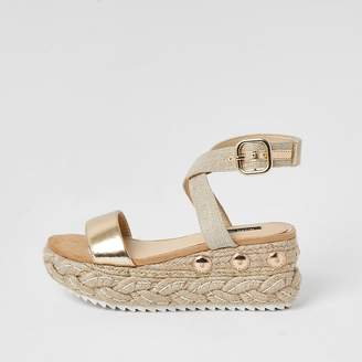 River Island Gold two part espadrille wedge sandals