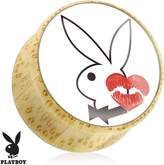 Playboy Bunny with Kiss Mark Print Wood Saddle Plug (Sold as a Pair)