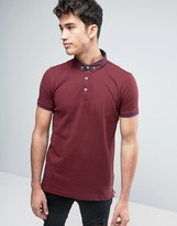 Brave Soul Polo Shirt with Woven Collar
