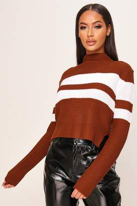 I SAW IT FIRST Brown Stripe Knitted Jumper