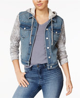 Tinseltown Juniors' Knit-Sleeve Hooded Denim Jacket
