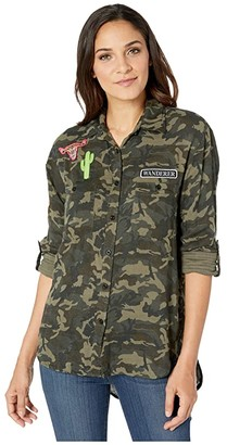 Rock and Roll Cowgirl Long Sleeve Printed Button Up B4B1176 (Camo) Women's Clothing