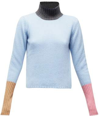 Marni Colour-block High-neck Cashmere Sweater - Womens - Blue Multi
