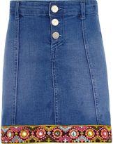 River Island Girls blue embellished trim denim skirt
