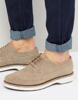 Asos Brogues Shoes In Stone Suede With White Heavy Sole