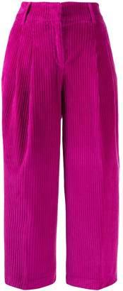 Pt01 velvet corded cropped trousers