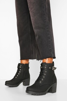 boohoo Wide Fit Buckle Lace Up Chunky Hiker Boots