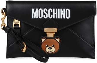 Moschino Teddy Bear Embroidered Leather Clutch